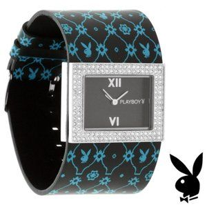 Playboy Watch Black Leather Band Bunny Crystal